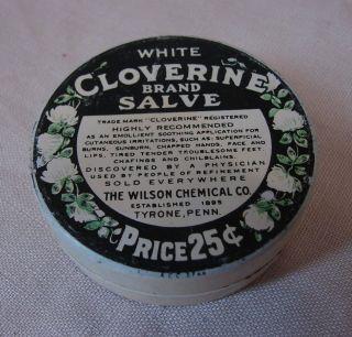 Ca.  1930 ' S Vtg White Cloverine Salve Tin Wilson Chemical Co 2 - 1/2