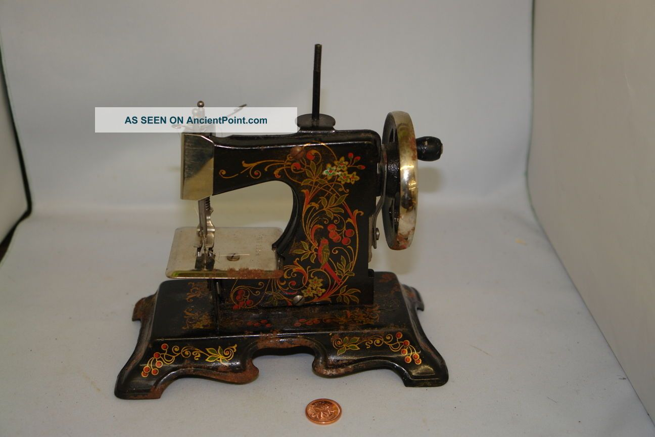 Sewing Machine Toy Antique German Muller Mini Hand Metal Tole Birds Of Paradise Sewing Machines photo
