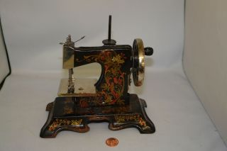 Sewing Machine Toy Antique German Muller Mini Hand Metal Tole Birds Of Paradise photo