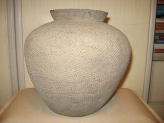 Large Ancient Chinese Warring States Impressed Pottery Jar 475 - 221bc photo