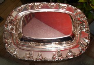 Vintage Silver On Copper Casserole Entree Dish W/ Lid Grape Themed Ornate Euc Nr photo