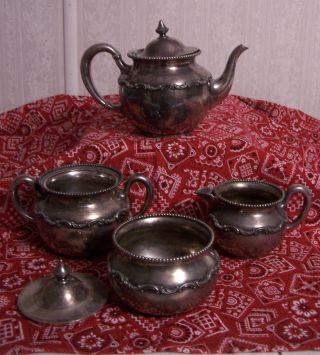 Wallace Bros Nickel Silver 5 Pc Tea Set W/ Teapot,  Sugar,  Creamer,  Lid&bowl 2318n photo