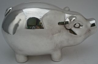 Very Large Tiffany Sterling Silver Modern Figural Pig,  Piggy Bank photo