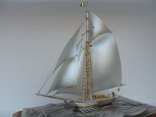 Finest Japanese Masterly Crafted Sterling Silver 985 Model Ship Takehiko Japan photo