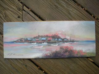 Vintage Luminist Oil On Cedar Shingle Of Cape Cod Sailboats By Raymond E Parsons photo