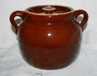 Antique Brown Crock Pottery Bean Pot photo