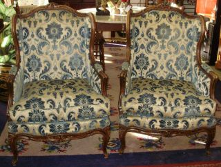 Pair Antique Queen Anne Chairs Down Cushions Blue & Ivory Carved Wood photo