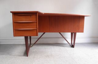 Peter Lovig Nielsen Danish Mid Century Modern Teak Asymmetrical Boomerang Desk photo