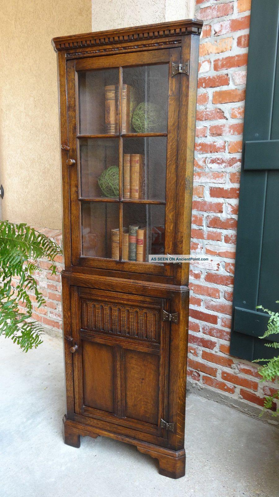 Antique English Carved Oak Corner Cabinet Display Case Bookcase Tall Slim - Antique English Carved Oak Corner Cabinet Display Case Bookcase Tall
