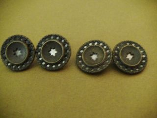 4 1800 ' S Antique Brass Buttons With Star Cut - Out & Hearts On Mirror Backing photo