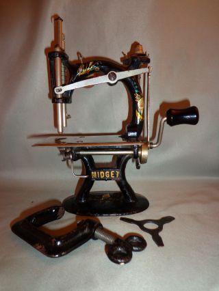 1912 Midget Sewing Machine Child ' S Cast Iron & Nickel Miniature Sewing Machine photo