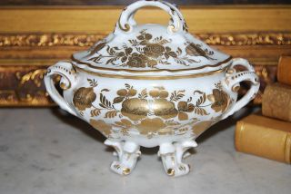 French Sevres Style Cabinet Vanity Rococo Footed Porcelain Gold Work Box photo