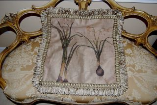 Wonderful Pulvermacher Ny Decorator Square Botanic Pillow Silk Ribbons Frills 6 photo