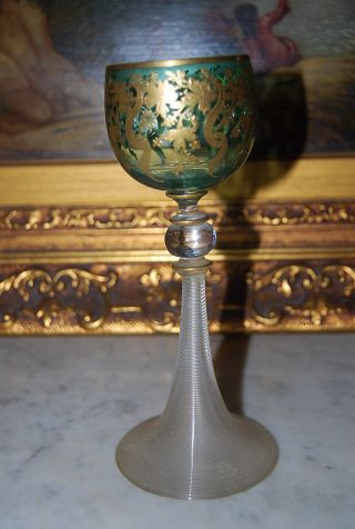 Wonderful Moser Type Bohemian Crystal Large Green And Gold Wine Goblet 7 3/4