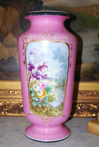 Old Vieux Paris Hp Pompadour Pink And Flower Scene Large Flower Vase photo