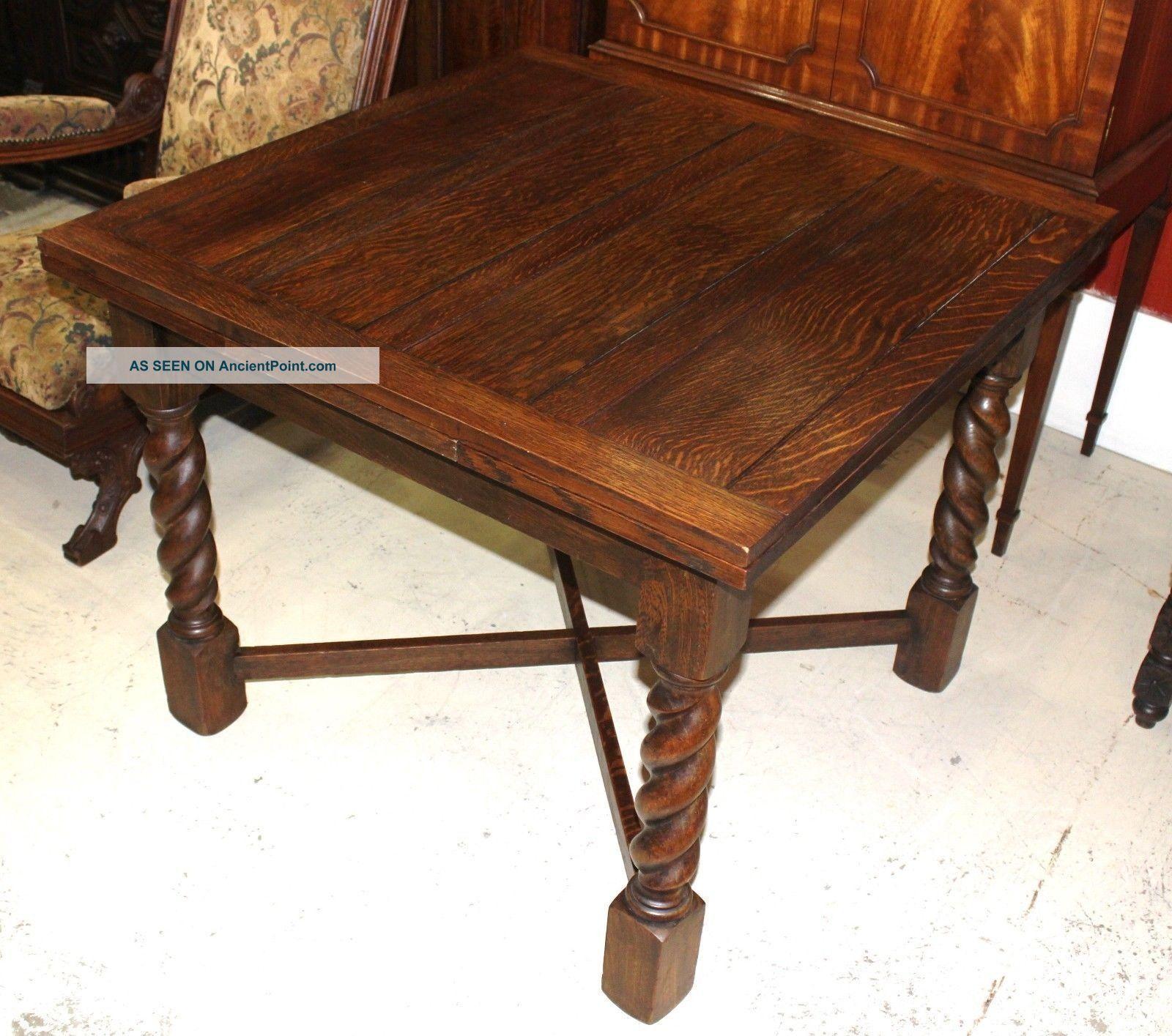 English antique oak draw drop leaf dining table with barley twist