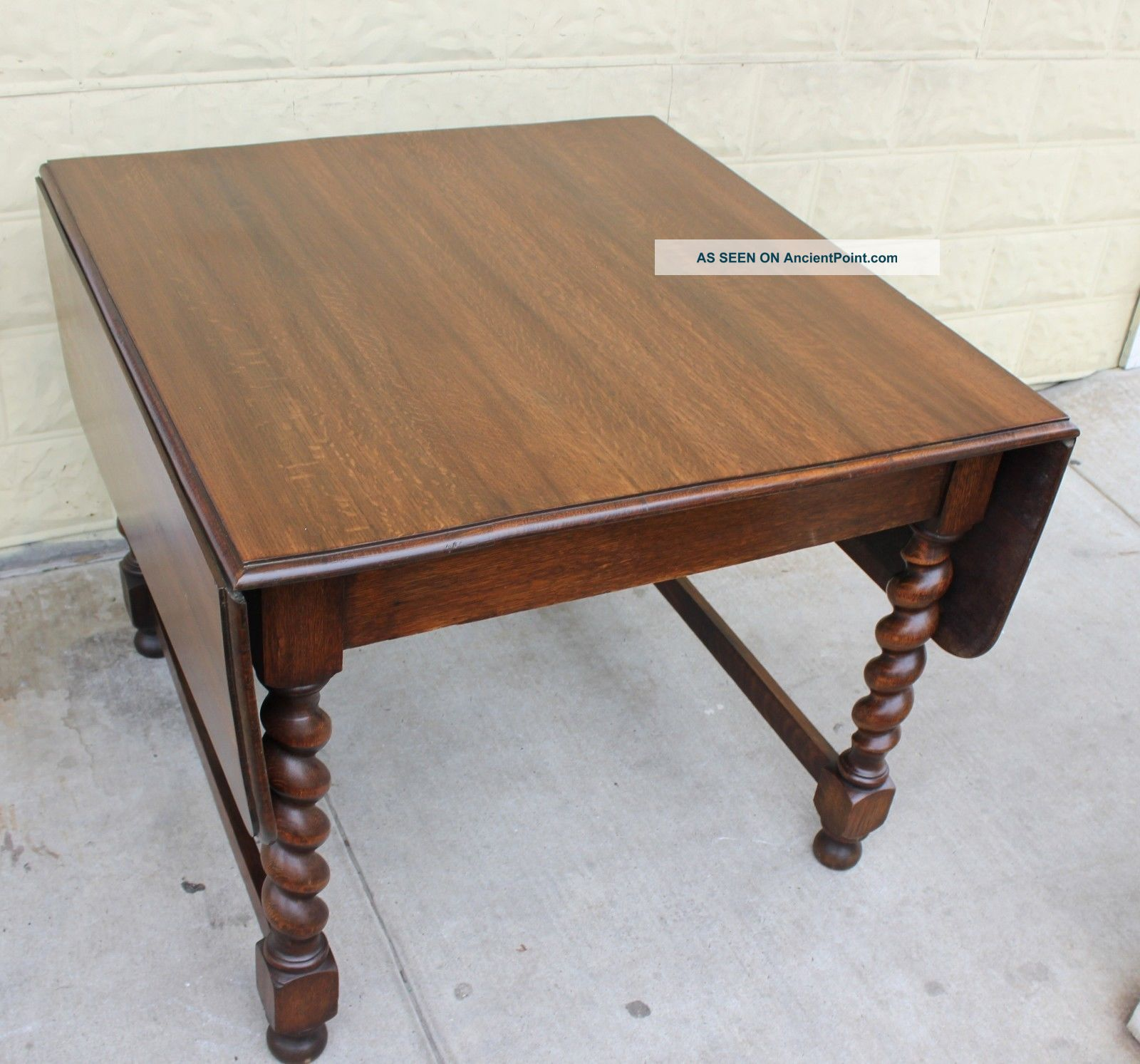 English Antique Oak Drop Leaf Kitchen Dining Table With Barley Twist