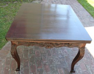 French Antique Louis Xv Solid Oak Dining Table photo