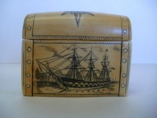 Vintage Boston Box Maritime Scrimshaw By Artek For Cooley ' S Artist Signed photo