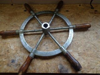 Vintage Nautical Boat Wheel,  6 Wood Handles 17