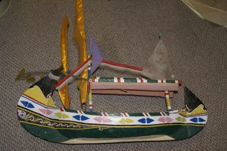Rare Antique Madura Maritime Art Long Boat Model Hand Carved Polychrome 210a2 photo