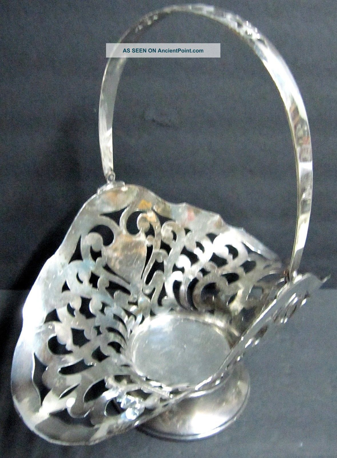 Antique Victorian Homan Quadruple Silver Plate Footed Bride Basket Reticulated Baskets photo
