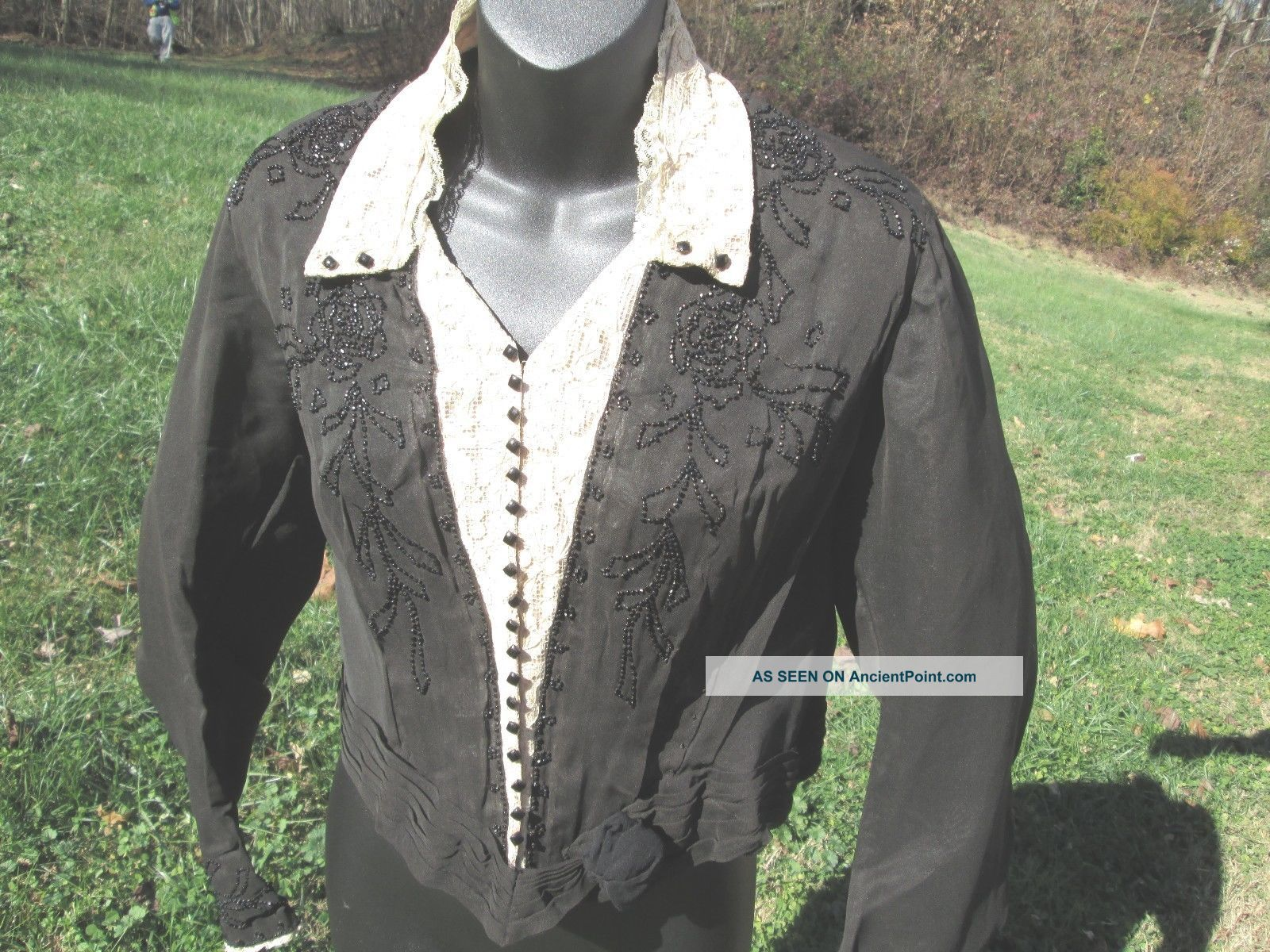 Antique Victorian Black Blouse Jacket Beaded Trim - Lace Very Victorian photo