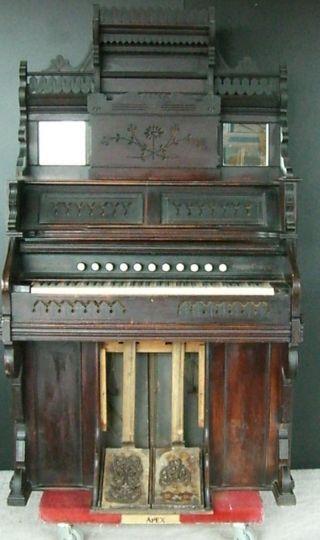Antique 1886 Chicago Cottage Organ,  Victorian Style,  Carved Walnut photo
