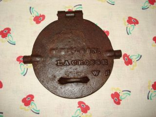 Vintage Antique Primitive Early 1900 ' S Cast Iron Pizzelle Wafer Cookie Iron photo