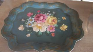 Lg Vtg Hp Metal Tole Serving Tray Green W/gold Flower Design Hand Painted Roses photo