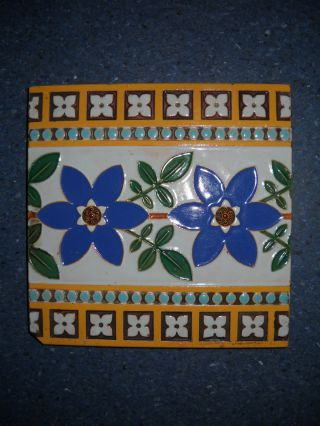 Vintage Antique Circa 1875 Victorian Minton & Co Stoke On Trent English Tile photo