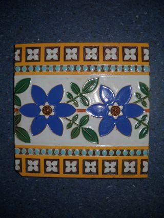 Vintage Antique Circa 1875 Victorian Minton & Co Stoke On Trent English Tile photo