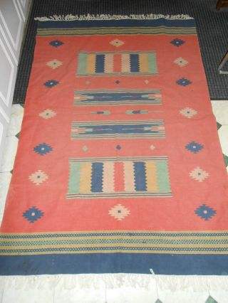 Antique Mexican Blanket Hand Knots Old photo