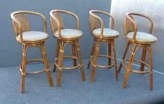 Set Four Vintage Mid - Century Bamboo Cane Back Bar Stools Rattan Wicker photo