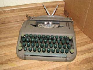 Rare Green Vintage Antique Smith Corona Skyriter Portable Typewriter photo