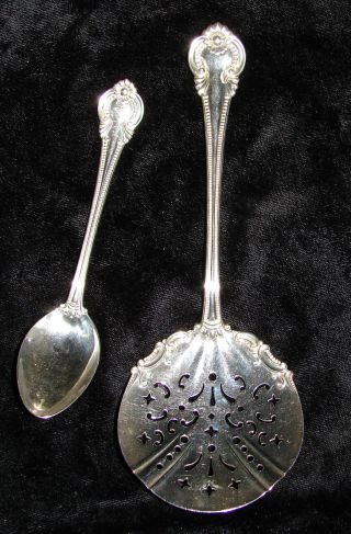 2 International Sterling Silver 1902 Irene Pattern Pierced Tomato Server & Spoon photo