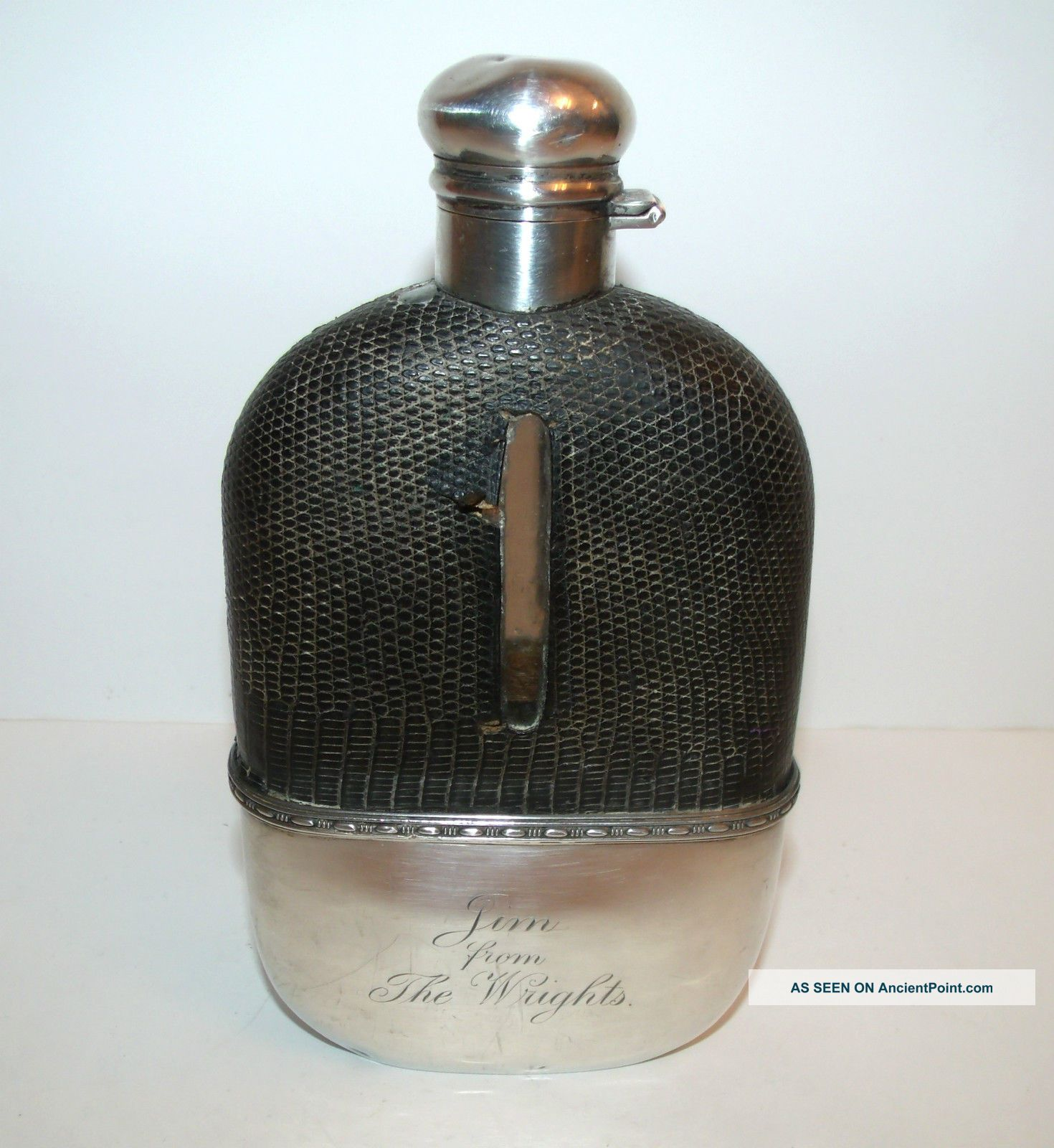 Antique 1900 ' S Alvin Sterling Silver 1/2 Pint Flask Engraved - Crocodile Cover Bottles, Decanters & Flasks photo