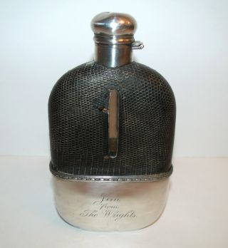 Antique 1900 ' S Alvin Sterling Silver 1/2 Pint Flask Engraved - Crocodile Cover photo