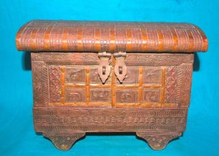 1900 ' S Antique Wooden Brass Fitted Valvate Work Jewelry Vanity Box photo