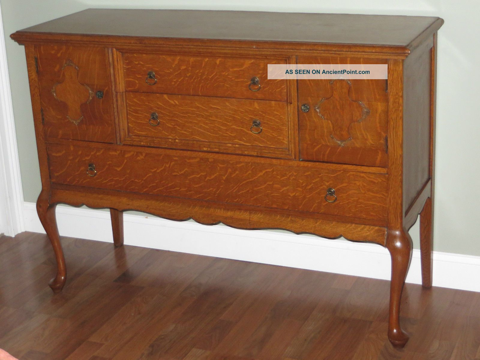 Antique Tiger Oak Sideboard Buffet Server Queen Anne Cabriole Legs Dovetails 1800-1899 photo