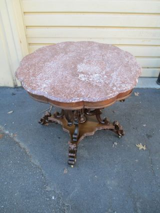 51470 Antique Victorian Marble Top Pedestal Table photo