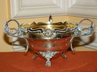 Old Vintage Ornate Footed Possibly Silverplate On Copper Candy Bowl W/3 Handles photo
