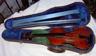 Unknown - Vintage Antique 4/4 Violin Rebuilt By Fred Miller 1937 Quincy Illinois photo