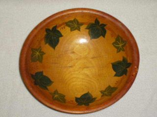 Vintage Munising Wooden Ivy Bowl,  Oval,  3 Legs,  Stamped 11.  5