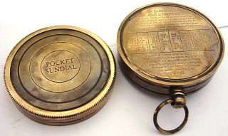 Brass Sundial Compass - Pocket Sundial Compass - Time Reader photo