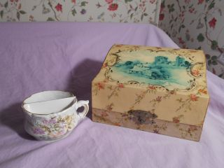 Antique Victorian Celluloid Shaving Dresser Box Mirror Shaving Mug Satin Lined photo