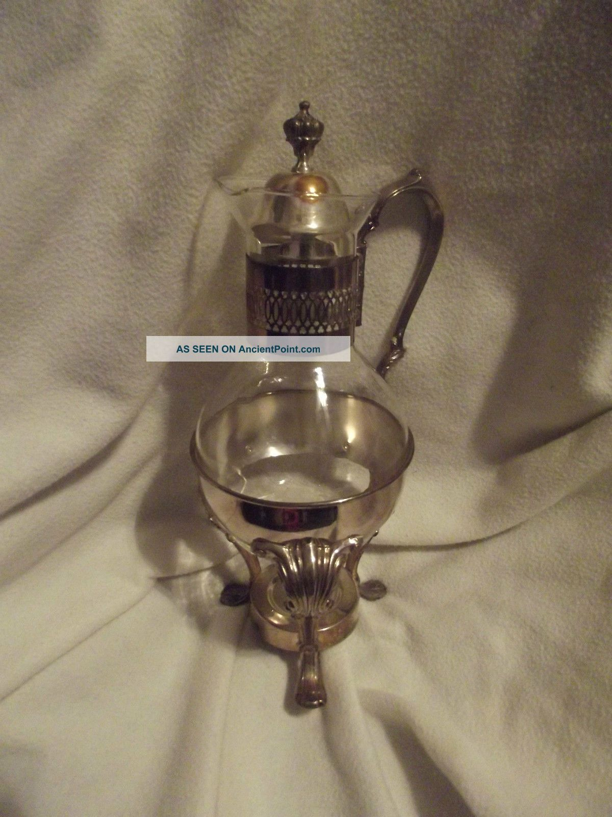 Glass Decanter Or Pitcher In Holder Possibly Sterling Silver - Bottles, Decanters & Flasks photo