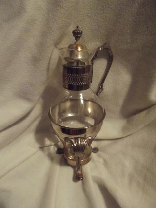 Glass Decanter Or Pitcher In Holder Possibly Sterling Silver - photo