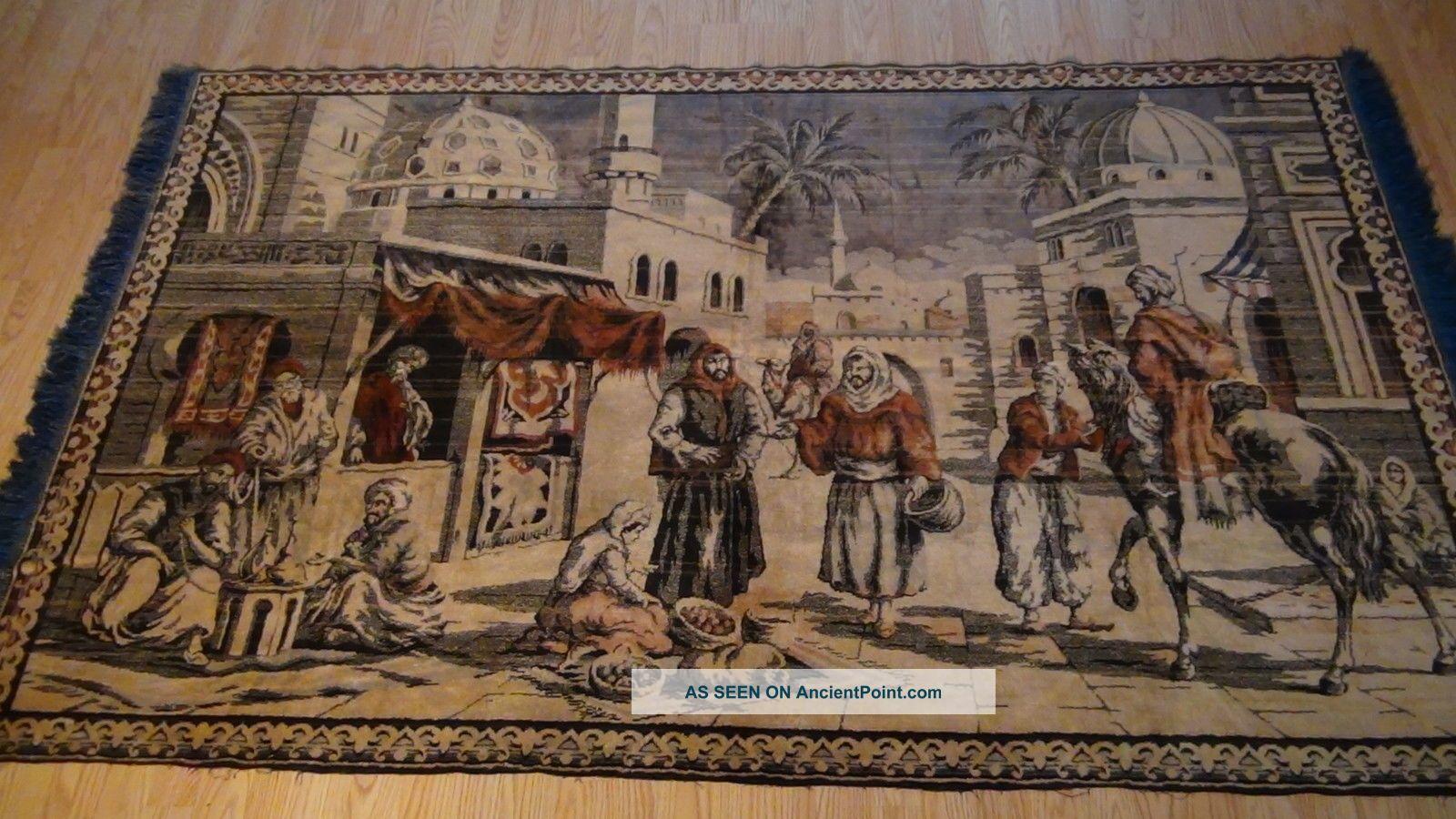Antique Persian Islamic Silk Rug Street Market Scene 49