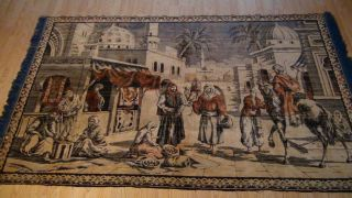 Antique Persian Islamic Silk Rug Street Market Scene 49